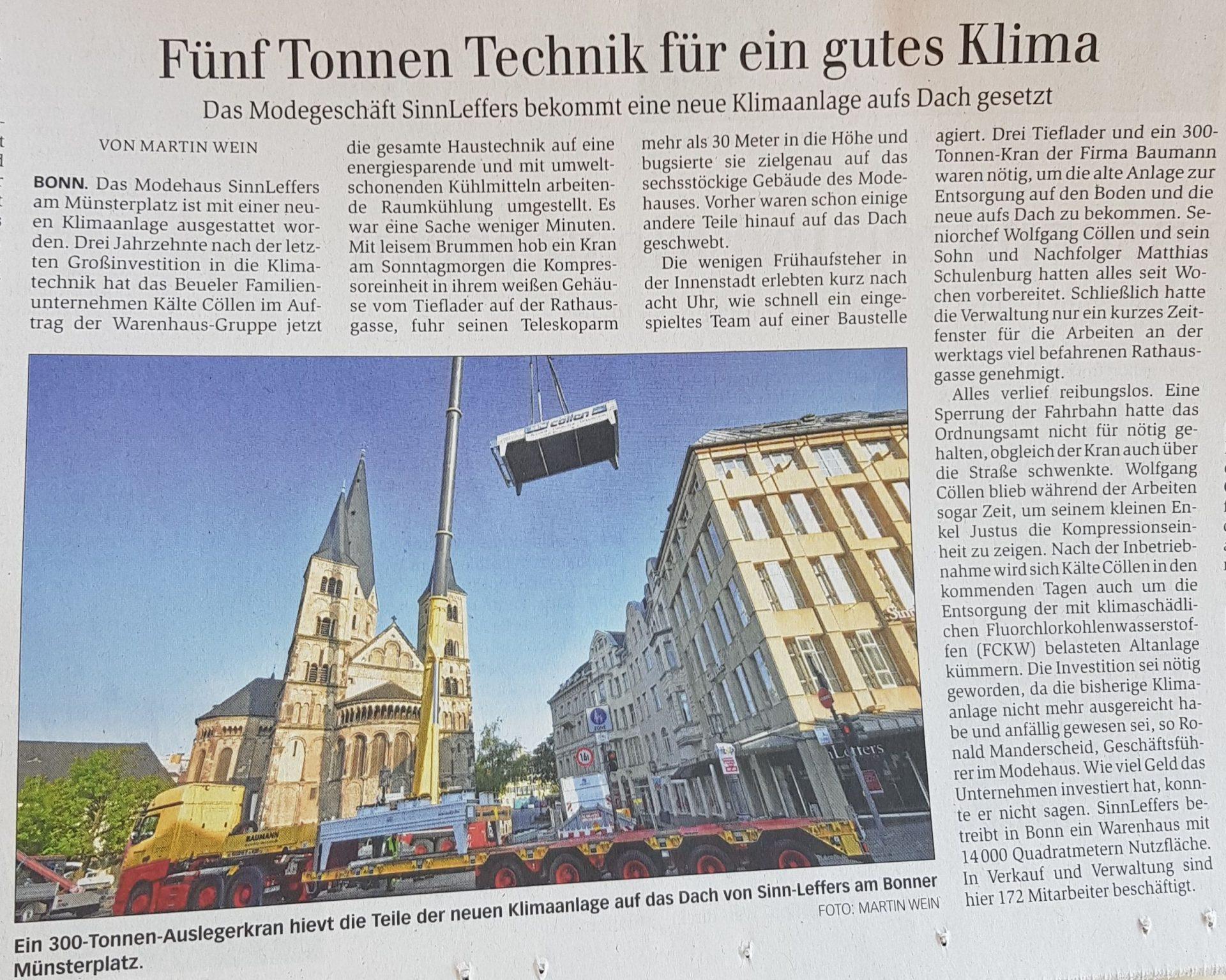 General Anzeiger Bonn kälte cöllen gmbh Baumann Leffers